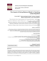 pdf the impact of using balance model in teaching linear equation