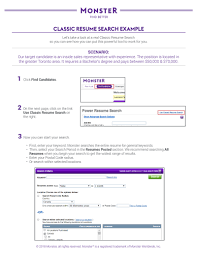 Resumes Search Classic Resume Search Example Monster Ca