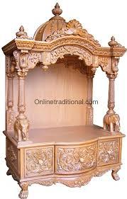 cabinet crafted teak wood pooja mandir