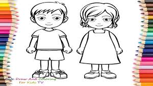 Small Picture How To Draw And Color Boy And Girl Coloring Pages For Childrens