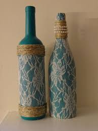 Lace, pearl, and twine adorned teal wine bottles, set of two by  TwinenWineCreations