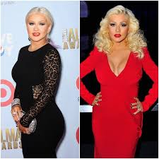 christina aguilera on the left in 2016 and on the right looking much slimmer