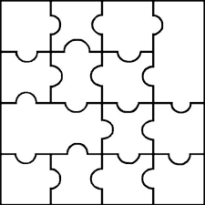 Blank Puzzle Template 14 Pieces Easy To Cut Learning For