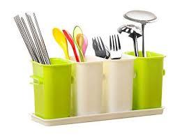 honla interlocking plastic flatware caddy organizer on tray