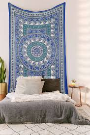 twin size blue indian handloom mandala tapestry wall hanging decor art royalfurnish com