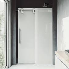 vigo elan 60 x 74 single sliding frameless shower door stainless steel
