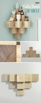 diy solid wood 3d shelf
