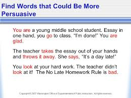 persuasive writing in the middle grades ppt find words that could be more persuasive