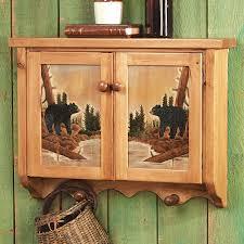 bear cedar log bathroom  carved wood bear wall cabinet