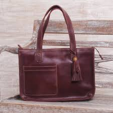 handmade dark brown leather tote shoulder bag city lines