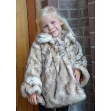 Foxfire for Kids Little Girls Crystal Fox Faux Fur Coat 1T-6