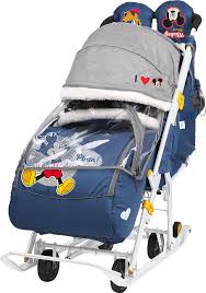 <b>Санки</b>-<b>Коляска Nika Disney</b> baby 2 (DB2) с Микки Маусом синий