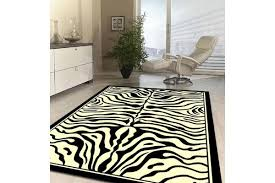 zebra print black and off white rug 280x190cm