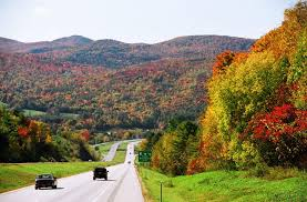 fall foliage along the highway in west rutland vermont
