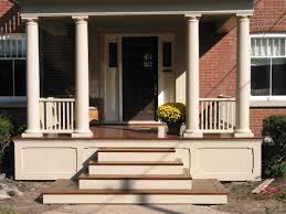 Decorations:Inspiring Brick Front Porch Steps Idea Elegant Steps Front Porch  With Brown Tile Idea