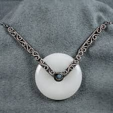 the angel s white jade angelite and sterling silver necklace