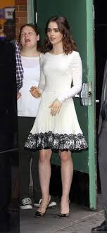 focus on fashion lily collins she did inherit her dad s eyebrows