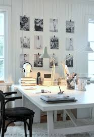 home office ideas : art display + white work space