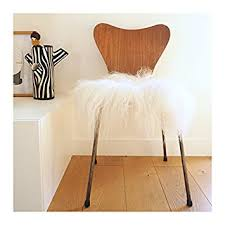 home thuret 37 cm square white icelandic sheepskin square chair cushion