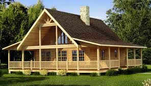 image of awesome log cabin homes with wrap around porches
