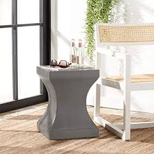 Finished wood, brass, glass, acrylics & more. Amazon Com Safavieh Outdoor Collection Curby Modern Concrete Dark Grey 17 7 Inch Accent Table Garden Outdoor