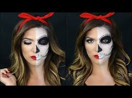 half skull half pin up makeup tutorial you