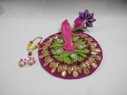 Laddu Gopal Jewellery Designs Magenta Green Designer Laddu Gopal Poshak With Accessories