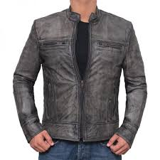 grey leather jacket mens