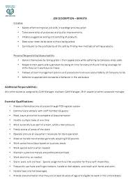 Job Description Of A Barista For Resume Best of Description Of Starbucks Barista Job Description Resume Samples