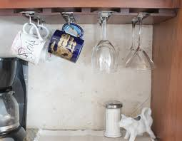 Delightful Under Cabinet Mug Hooks Double Row Of Command Hooks Coffee Mug  Storage