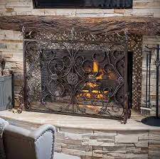 attractive iron fireplace screens with rustic screen flat bronze wrought single panel rustic fireplace screens l62 rustic