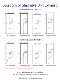 washer and dryer space requirements.  Requirements Drawings Of 4 Different Stackable Dryers Indicating Their Respective  Exhaust Port With Washer And Dryer Space Requirements Y