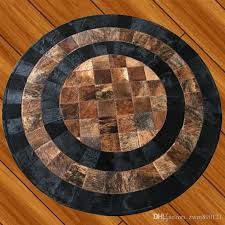 2018 new style cowhide carpet north european style living room bedroom study round handmade cow leather mosaic carpet commercial carpet s carpet