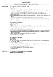 Special Education Aide Resume Samples Velvet Jobs