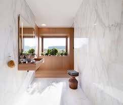 modern bathroom design. In This Exquisite Creation Of Alfredo Häberli, The Marble Gives A Dramatic Contrast To Dominating Wood, And Entwinement Two Materials Creates Modern Bathroom Design