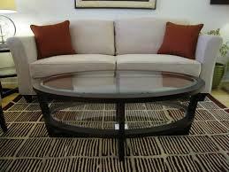 oval glass coffee table espresso
