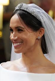meghan markle smiles during her wedding to prince harry in st george s chapel at windsor castle