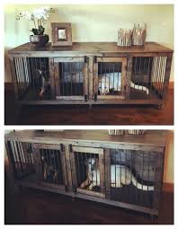 wooden dog crate furniture. Double Dog Crate Furniture Door Wood Wooden E