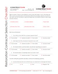 Contractor Checklist Constructeams Restoration Contractor Selection Checklist