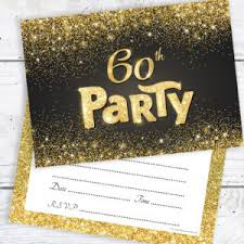 60 birthday invitations black and gold effect 60th birthday party invitations ready to