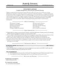 Advisor Resume Example