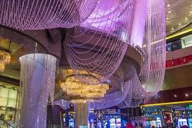 las vegas sep 03 the chandelier bar at the cosmopolitan hotel in las vegas on september 03 2016 this tri level chandelier encases the hotels 3