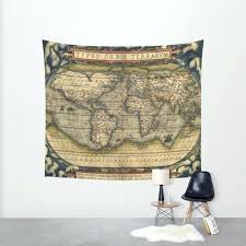 details about rustic world map wall tapestry art
