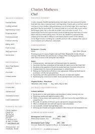 Resume Of A Chef Cook Head Chef Resume Skills Resume Letter Directory