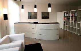 interior design for office reception area with white reception