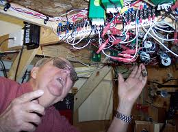 bill haigler working on the wiring for the haigler creek western railroad photo by