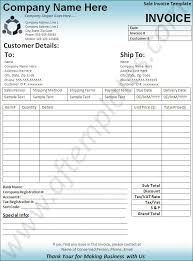 Excel Sales Invoice Template Sales Invoice Template 6 Printable Word Excel And Pdf Formats