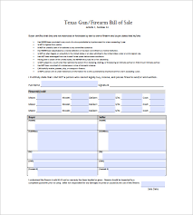 Bill Of Sale Texas Template Gun Bill Of Sale Template 10 Free Word Excel Pdf Format