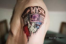 татуировка уолл стрит фондовая биржа статуя свободы реализм тату