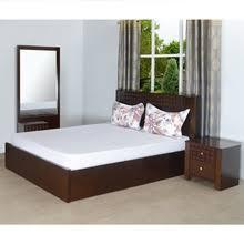 bed furniture image. Rivera King Bedroom Set - @home By Nilkamal, Dark Walnut Bed Furniture Image N